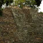 ...and this is one of the larger pyramids at Copan. When archaeologists dug a tunnel to find out what was inside, they found that the pyramid had been built over a previous temple...