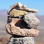 One of hundreds of tiny 'cairns' on the way to the Colca Canyon trek